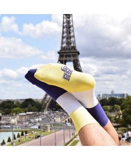 Chaussettes mixtes dépareillées jaune et violettes