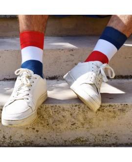 Chaussettes mixtes dépareillées bleu blanc rouge