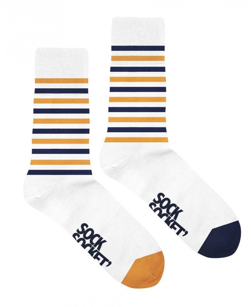 Chaussettes Socksocket mixtes dépareillées motif marinière jaune et bleue