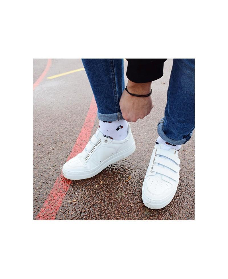 Chaussettes Socksocket mixtes dépareillées blanches motif bicyclette