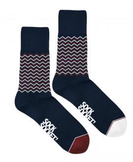 Chaussettes Socksocket mixtes dépareillées bleues marines motif vagues