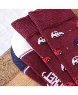 Chaussettes Socksocket mixtes dépareillées rouges motif voiture