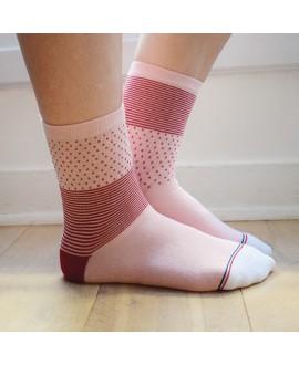 Chaussettes Socksocket mixtes dépareillées roses