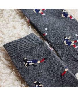 Chaussettes Socksocket mixtes dépareillées grises motif rugby