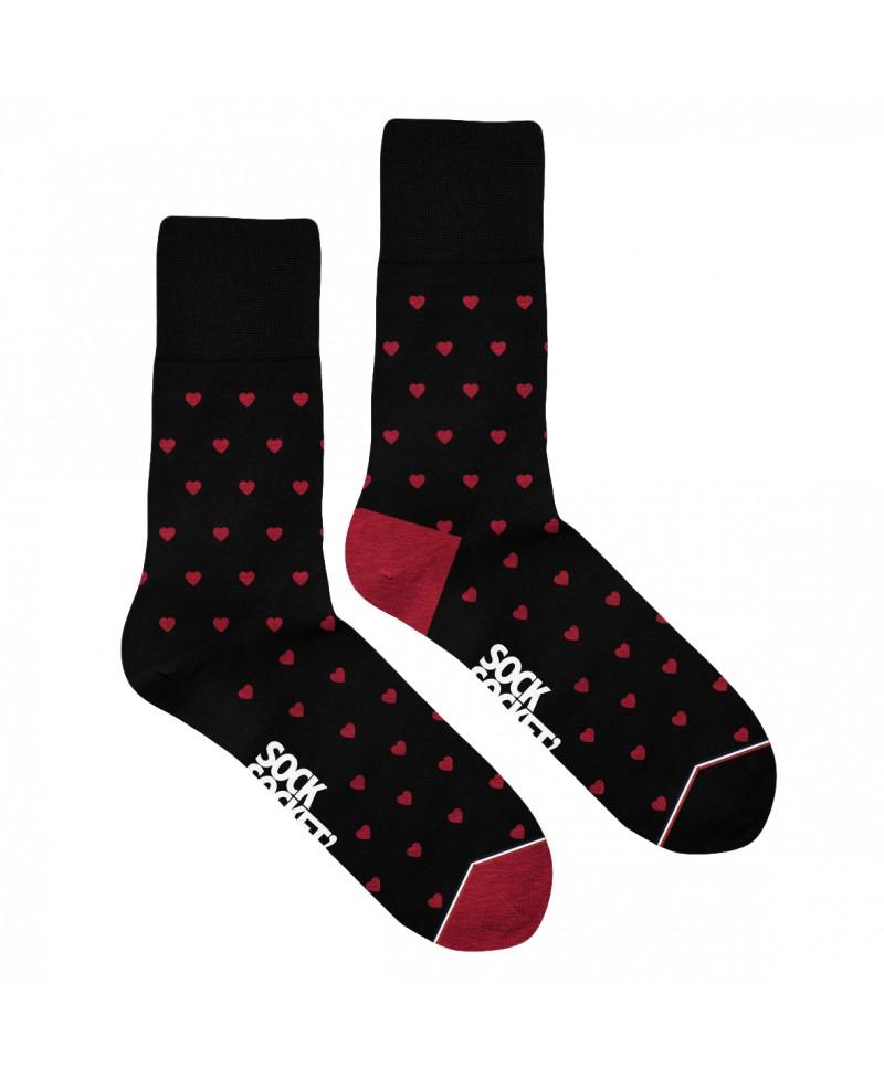 Chaussettes Socksocket dépareillées motif coeurs rouges
